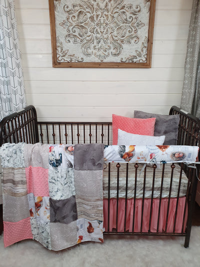 New Release Girl Crib Bedding- Chicken Minky Farm Collection