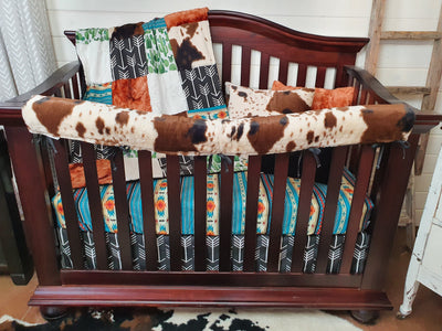 New Release Boy Crib Bedding- Cactus, Teal Aztec, Cow Minky Ranch Collection