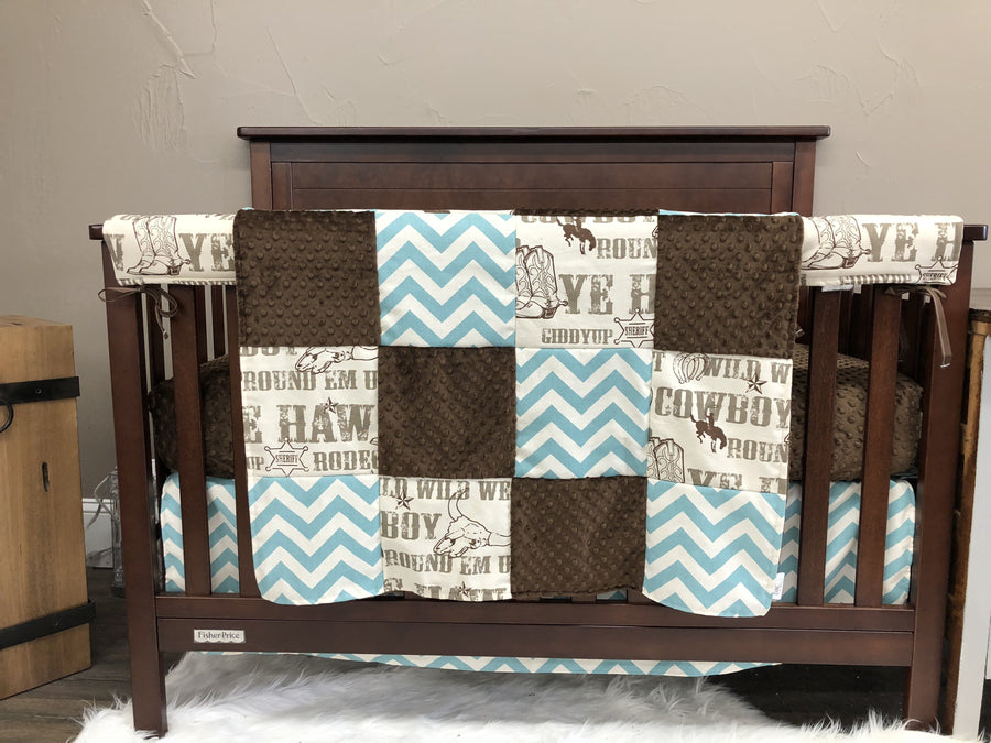Ready to Ship Boy Crib Bedding - Brown Cowboy, Brown Minky, and Village Blue Chevron, Cowboy Collection