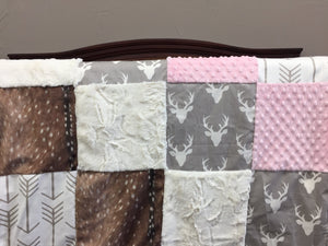 Buck Patchwork Blanket- Gray Buck, Deer Skin Minky, Minky, Ivory Crushed Minky, and White Tan Arrow Patchwork Blanket