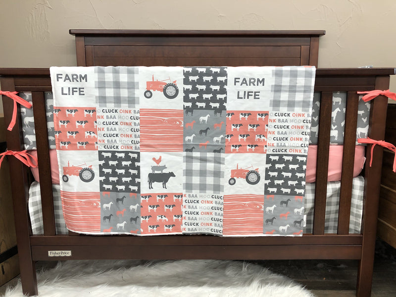Custom Girl Crib Bedding - Coral Gray Farm Life, tractors, Horse, Cows, Farm Life Crib Bedding