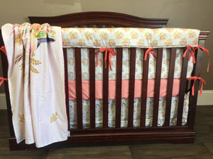 Custom Girl Crib Bedding  - Peach, Mint, and Gold Floral Headdress, Boho Crib bedding