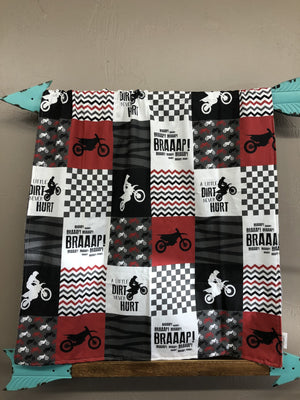 Custom Boy Crib Bedding - Deep Red Dirt Bike, Gray Minky, and Race Flag Check, Motocross Nursery Set