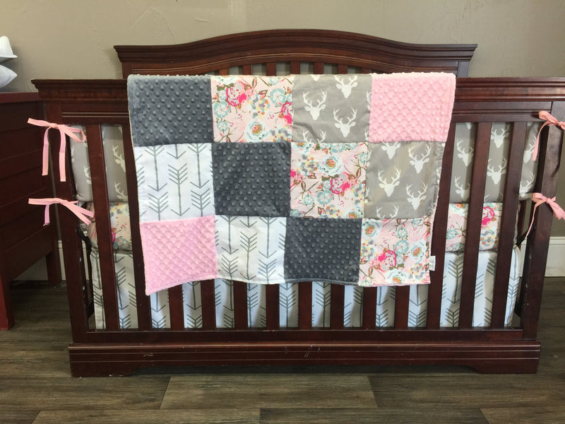2 Day Ship Girl Crib Bedding - Blush Flowers, White Gray Arrow, Light Gray Buck, Woodland Collection