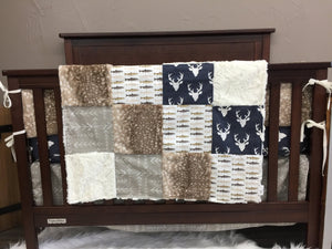Ready to Ship Boy Crib Bedding - Navy Buck, Tan Tribal Arrow, Brown Trout, Fawn Minky, and Ivory Crushed Minky, Navy Woodland Crib Bedding