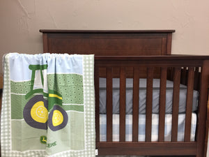 Ready to Ship Boy Crib Bedding - John Deere, Tractor, Cashmere Blue Check, Tractor Collection