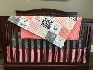 Custom Girl Crib Bedding - Cows Come Home, Gray, and Coral, Girl Cow Crib Bedding