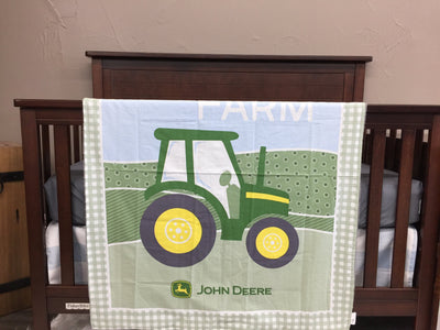 Custom Girl Crib Bedding - John Deere, Tractor, Black Check, Tractor Collection