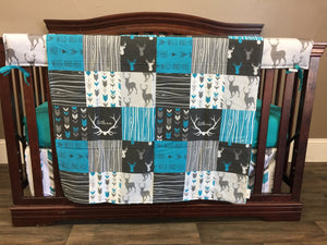 Custom Boy Crib Bedding - Wild Free Deer and Arrow, Wild and Free Nursery Set