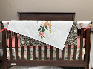 Custom Girl Crib Bedding - Cactus Headdress, Cactus Stripe, and leopard, Cactus Crib Bedding