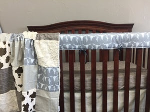 Custom Boy Crib Bedding - Steer, Wood, Brown Pony Minky, and Brushed Tan, Long Horn Nursery Set