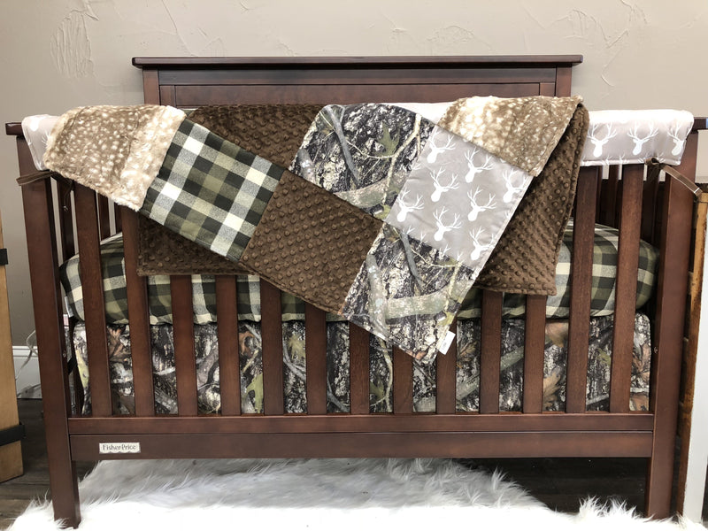 Ready to Ship Boy Crib Bedding - Tan Buck, Plaid, Camo, and Fawn Minky