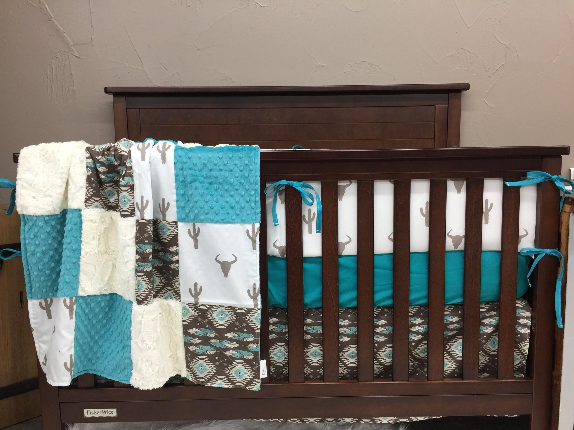 Custom Neutral Crib Bedding - Longhorn Cactus and Aztec Crib, Longhorn Western Crib Bedding