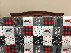 Custom Boy Crib Bedding - Red Black Buck, Red Black Check, and Little Man, Little Man Nursery Set