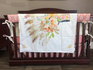 Custom Girl Crib Bedding  - Feather Headress and Peach Aztec, Southwest Crib Bedding