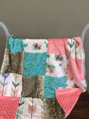 Custom Girl Crib Bedding - Cactus Stripe, Fawn Minky, Seafoam Weathervanes, Fletching Arrows, Cactus Crib Bedding