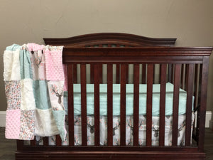 Custom Girl Crib Bedding - Tulip Fawn, feathers, Mint feathers, and blush, Woodland Crib Bedding