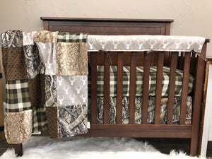 2 Day Ship Boy Crib Bedding - Tan Buck, Plaid, Camo, and Fawn Minky