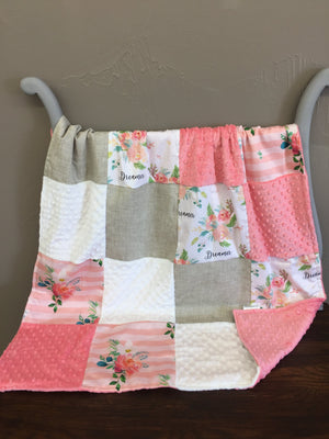 Custom Girl Crib Bedding - Dreamer Flowers and floral stripe, Rustic Floral Crib Bedding