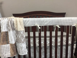 Ready to Ship Neutral Baby Crib Bedding - Tan Buck, White Tan Arrow, Tan Check, Deer Skin Minky, and Ivory Crushed Minky