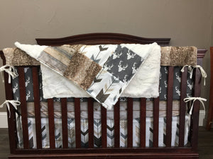 Custom Boy Crib Bedding - Buck, Arrows, Barnwood, and Fawn Minky, Rustic Nursery Set