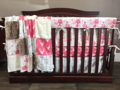Ready to Ship Girl Crib Bedding - Pink Buck, roses, arrows, and fawn minky, Woodland Nursery Set