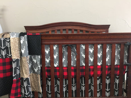 Boy Crib Bedding - Dark Gray Buck, Red Black Buffalo Check, Black Arrow, Deer Skin Minky, Woodland Crib Bedding
