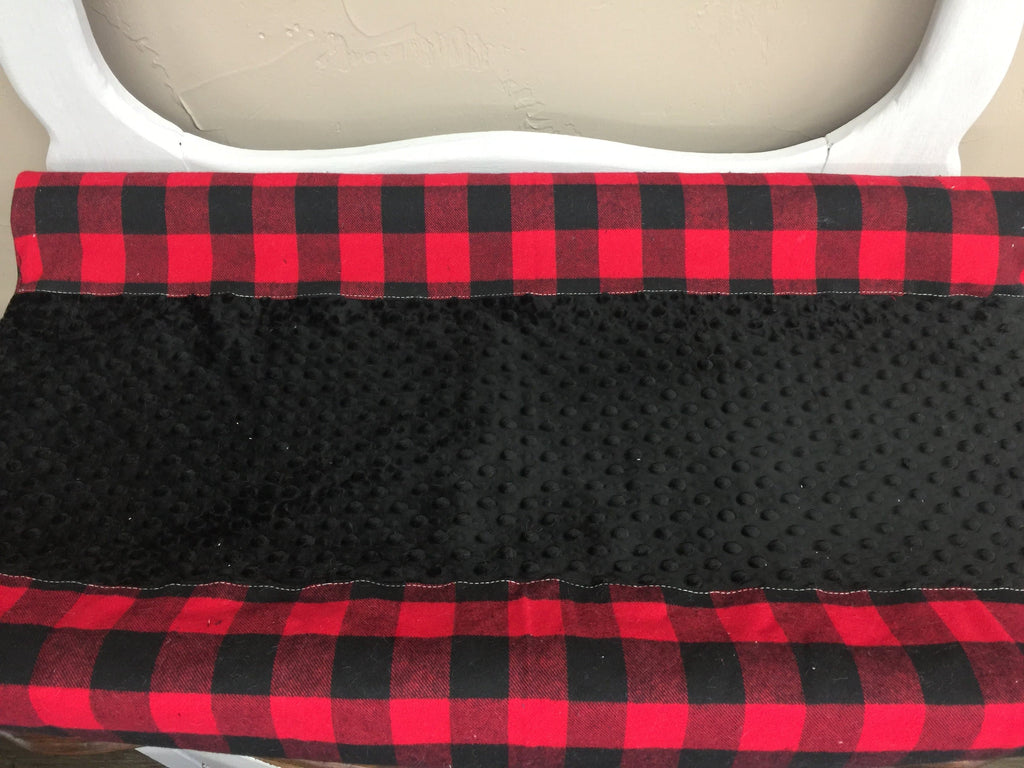 Deluxe changing pad cover - red black check and minky