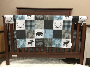 Custom Boy Crib Bedding- Adventure Awaits, Moose, Bears, Woodland Nursery Set