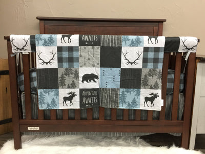 Custom Boy Crib Bedding- Adventure Awaits, Moose, Bears, Woodland Adventure Crib Bedding