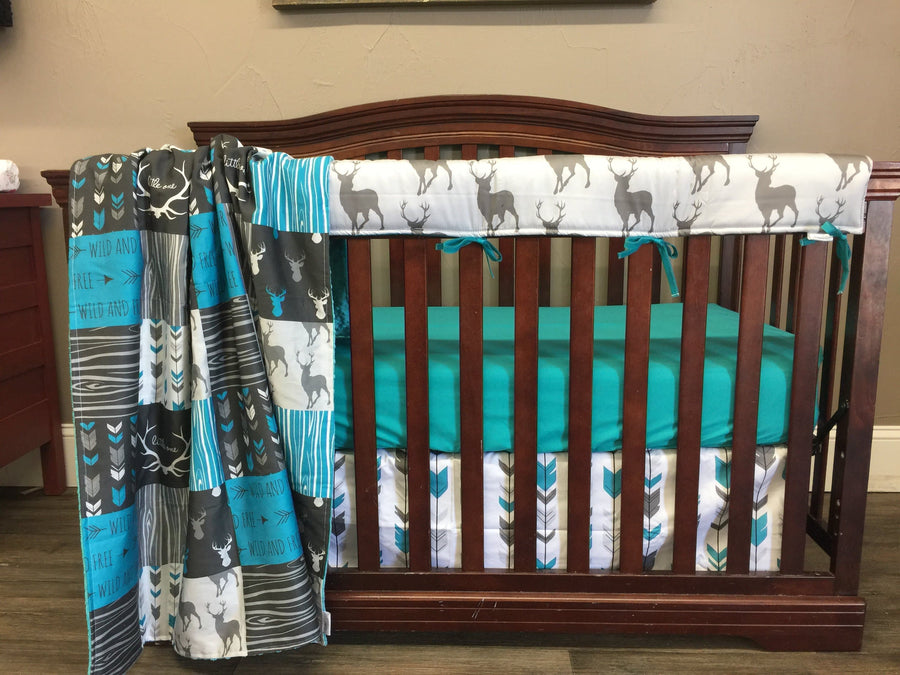 Custom Boy Crib Bedding - Wild Free Deer and Arrow, Wild and Free Collection