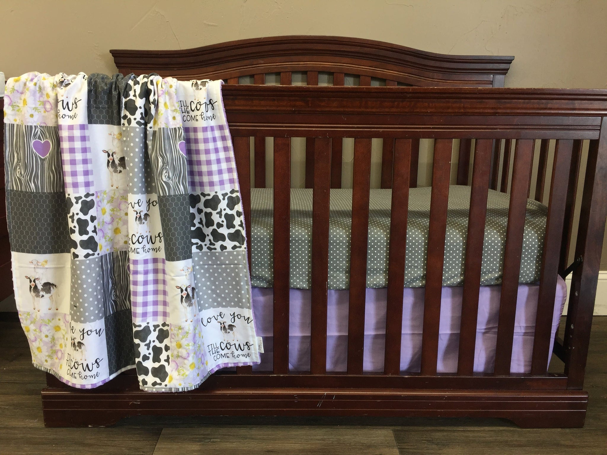 Custom Girl Crib Bedding Cows Come Home Gray Mini Dot