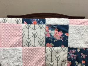 Ready to Ship Girl Crib Bedding - Navy Coral Floral, White Gray Arrow, Blush, Arrow and Floral Nursery Set