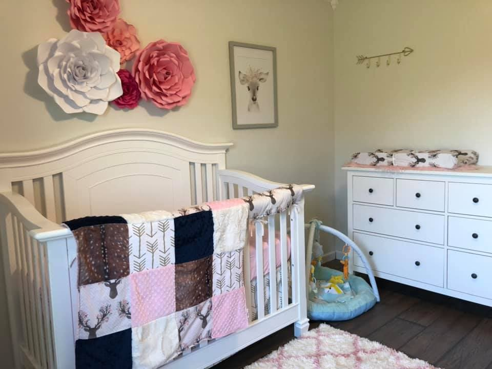 Ready to Ship Girl Crib Bedding - Tulip Fawn Bedding Set
