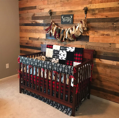 Boy Crib Bedding - Buck Deer, Black Arrows, Lodge Red Black Buffalo Check, and Black