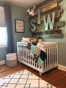Woodland Boy Crib Bedding- Navy Buck, Moose, Bear, Fletching Arrow, Mint, and Navy