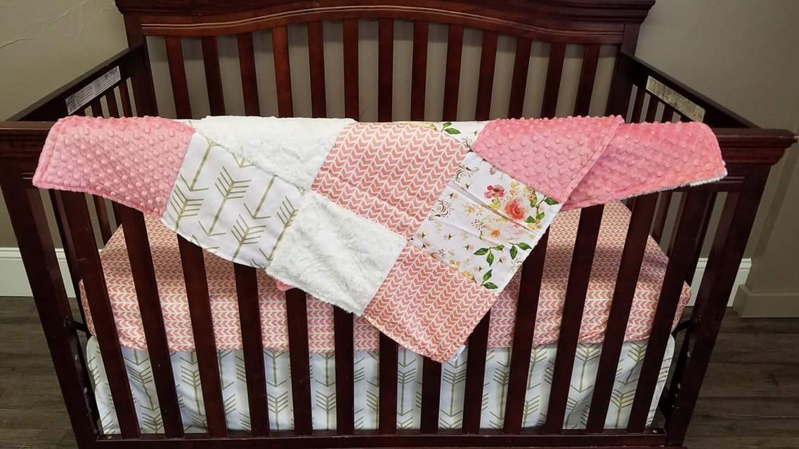 Custom Girl Crib Bedding - Western Flowers, Gold Arrows, Coral Broken Chevron, Ivory Crushed Minky, and Coral, Boho Crib Bedding
