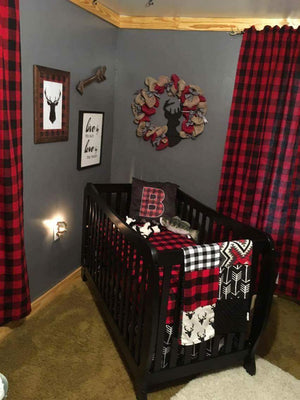 Ready to Ship Boy Crib Bedding- Black Buck, Aztec, Red Buffalo Check, and Arrow, Buck Collection