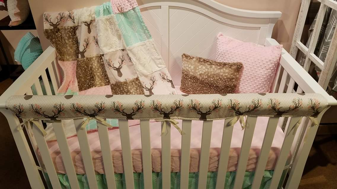 Ready to Ship Girl Crib Bedding- Tulip Fawn, Mint Arrow, Fawn Minky, Blush Minky, and Ivory, Fawn Deer Crib Bedding