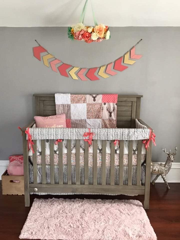 Girl Crib Bedding Tulip Fawn Meadow Flowers Pebble