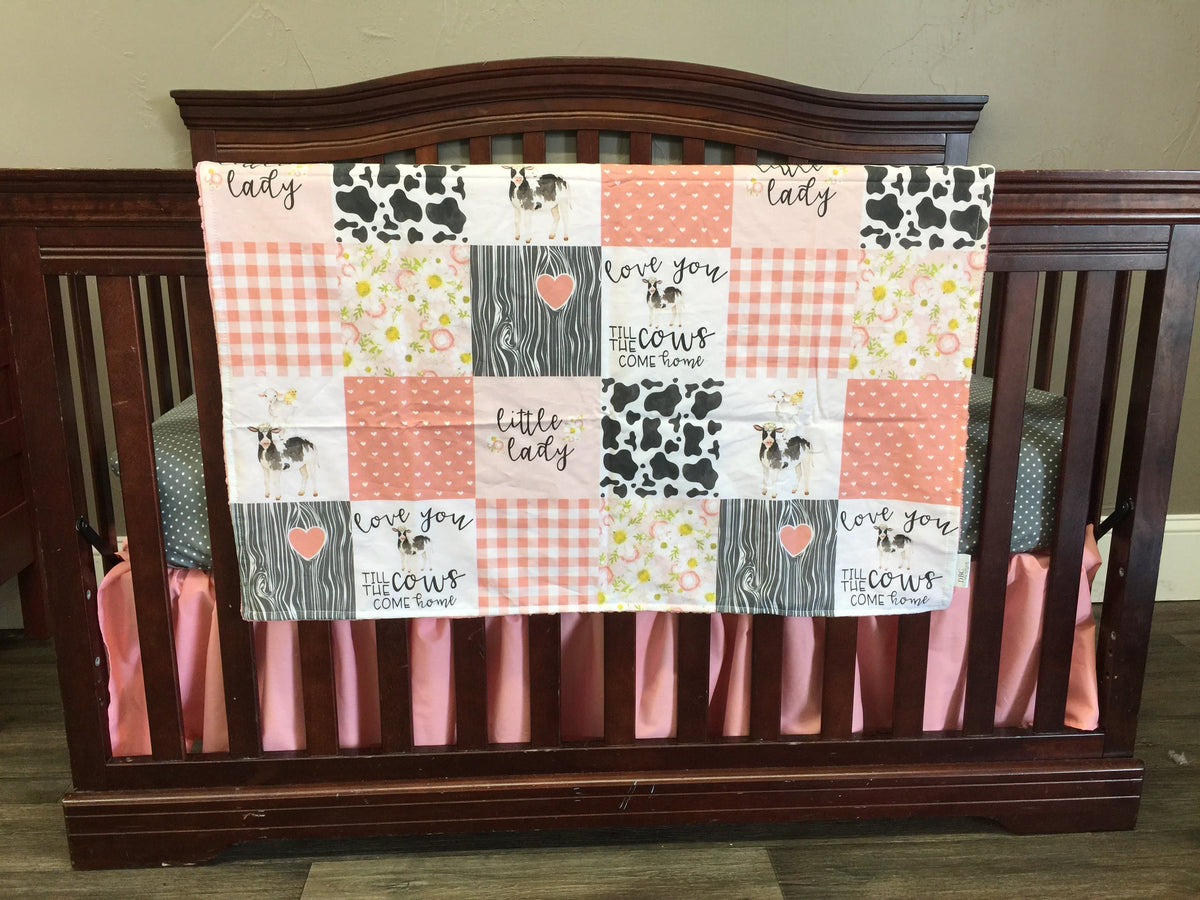 Custom Girl Crib Bedding - Cows Come Home in Coral Collection