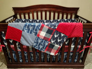 Ready to Ship Boy Crib Bedding - Navy Buck, Navy Check, Navy Arrows, Red Navy Check, Buck Collection