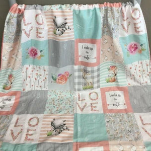 Custom Girl Crib Bedding - Fawn, Fox, Roses, and Check - Girl Woodland Nursery Set