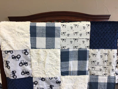 Custom Boy Crib Bedding - Navy Tractors, Cows, Navy Buffalo Check, Navy Minky, Farm Collection