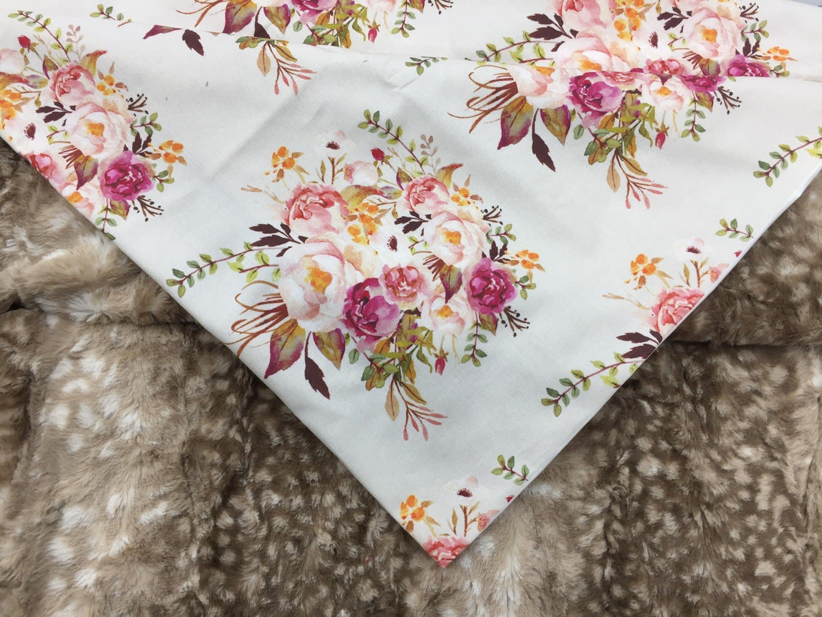 Standard blanket- 35x42 Blanket, antique floral and fawn minky
