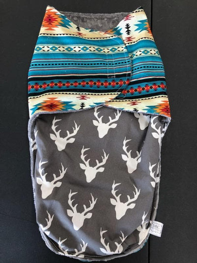 Swaddle Blanket - Teal Aztec and Gray Buck pouch/Gray minky interior