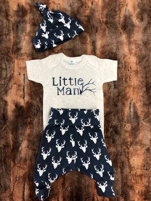 Baby Outfit -Navy Little Man Antler Going Home Outfit