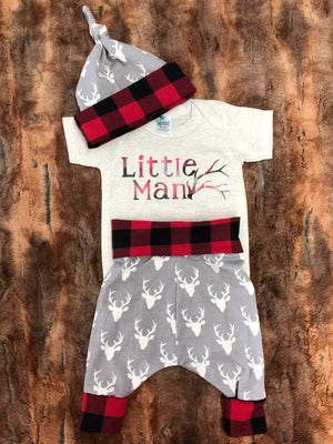 Baby Outfit -Little Man Antler Going Home Outfit