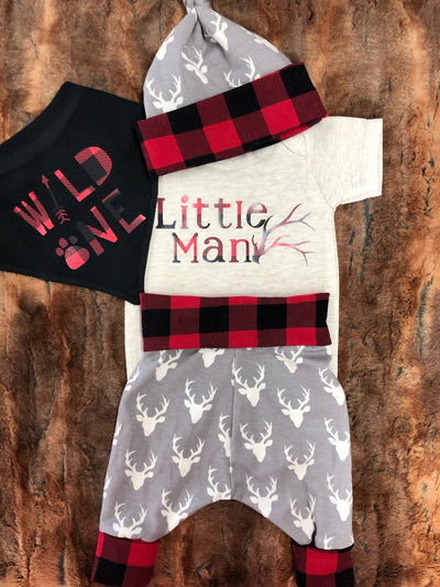 Baby Outfit -Little Man Antler with Buck