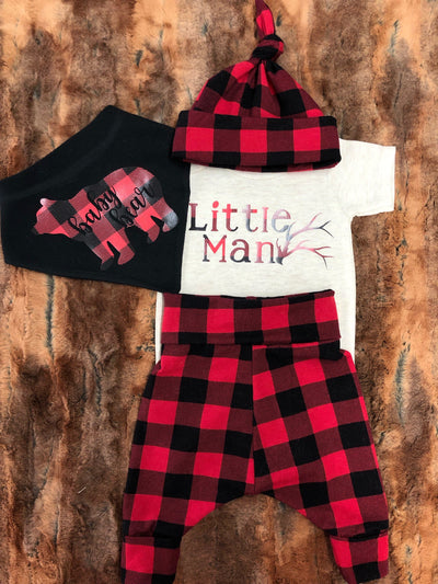 Baby Outfit -Little Man Antler with Red Black Buffalo Check